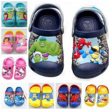Nuevo 2015 anna elsa, hello kitty, dora, coche, spiderman, minions, hulk, de dibujos animados en 3D deslizador de la playa, zapatos de los niños, del bebé de la sandalia, boy zapatos de la muchacha(China (Mainland))