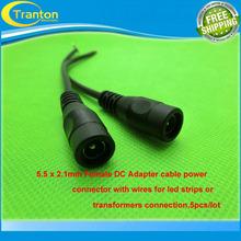 5 unids/lote 5.5*2.1mm adaptador hembra DC cable conector de alimentación con cables para led srtips de o transformadores de conexión