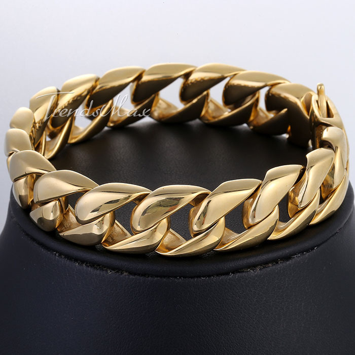 Customize ANY Length 14mm Wide HEAVY Mens Chain Boys Gold Tone Curb Link 316L Stainless Steel