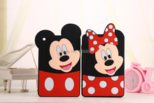 2016 New High quality 3D Cute Cartoon Monkey Mickey And Minnie mouse soft silicon cover Case For iPad mini 1/2/3 best Kids/Girls(China (Mainland))