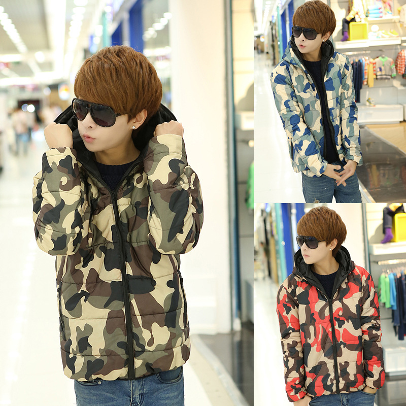 Camo Male Warm Winter Jacket Cotton Casual Long Sleeves Men Winter Jacket Fashion Simple Colorful Winter