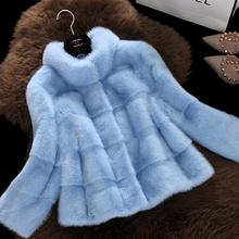 Factory Outlet Anti-season Women's Winter Outerwear Female High-quality Mink Short Design Stand Collar Marten Overcoat(China (Mainland))