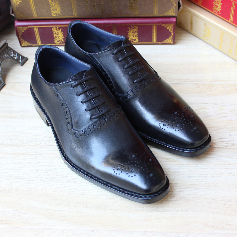 Goodyear hand-carved leather shoes custom-made full leather men leather shoes,men oxfords shoes black lace dress shoes<br><br>Aliexpress