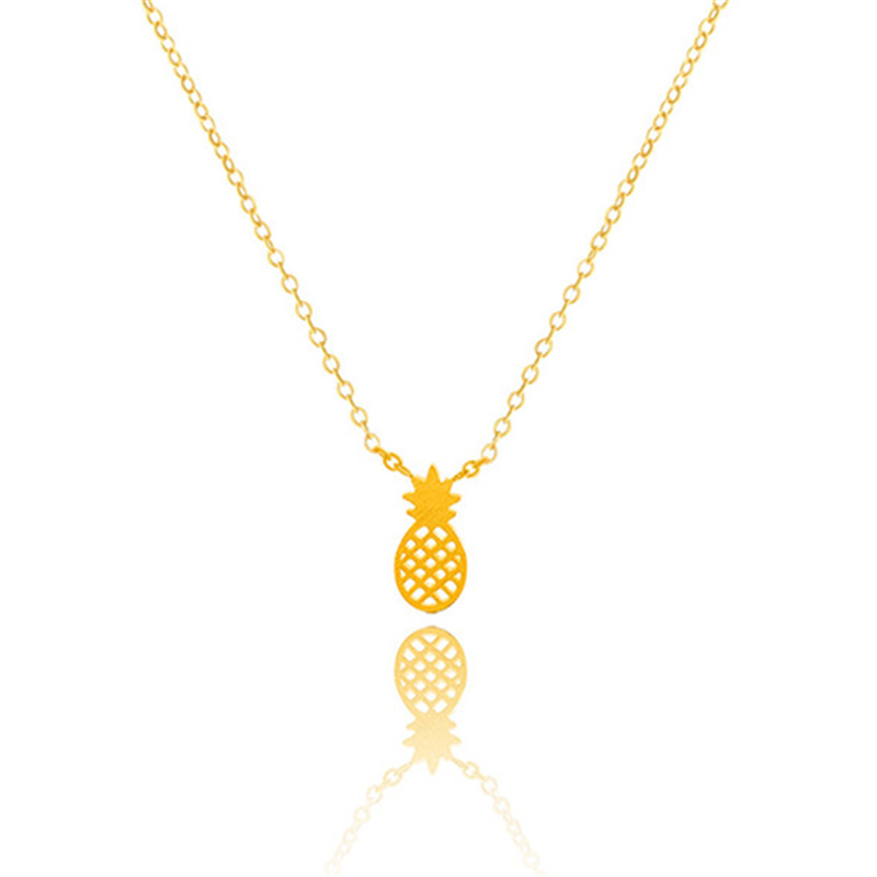 Minimalist Pineapple Fruit Charm Pendant Necklace For Women Real Gold Silver Rose Gold Plated Bridesmaid Steel Gifts Jewellery(China (Mainland))