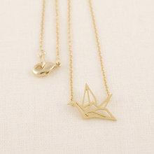 Hot Cake ONE PIECE Gold Silver Origami Crane Necklace Long Necklace Animal bird crane Pendant Jewelry