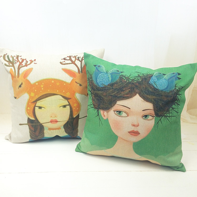 45*45cm Girl Linen Decorative Sofa Cushion Cover Pillowcase pillow covers home decoration Free Shipping(China (Mainland))