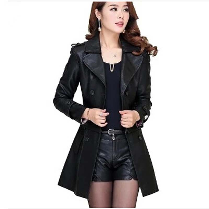 2015 Autumn new Women Fashion Plus Size Slim Dual Use PU Removable Ladies Faux Synthetic Long Leather Trench Coat AE351Одежда и ак�е��уары<br><br><br>Aliexpress