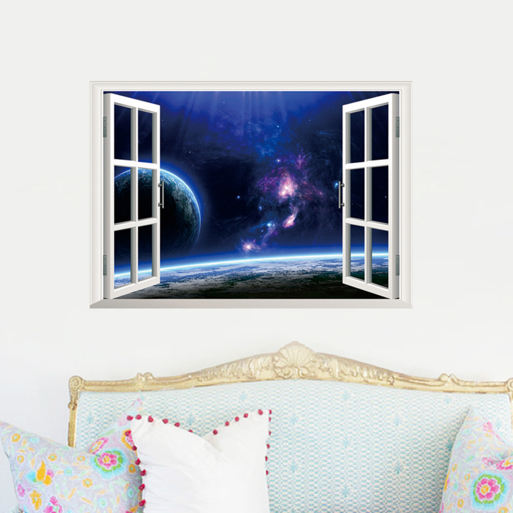 Outer space earth 3d window wall decal sticker stickers for 3d wall decals