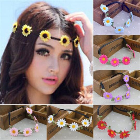 Women Hair Accessories Summer Style Flower Headband Sweet Beach Hair Decoration Girls Floral Headwear Flower Headband For Women(China (Mainland))