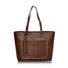 Women Vintage Shouolder Bags PU Leather Tote Bag For Girls Large Capacity Handbags Lady Tassel Casual Black Hand Bag Sac Femme