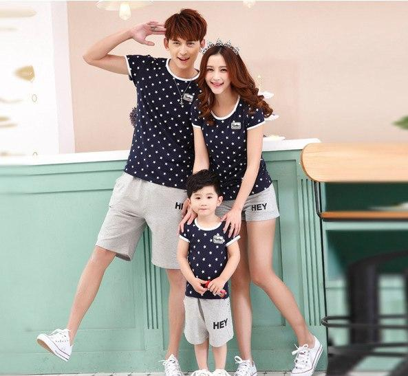 Summer mommy and me t shirts parent-child star t shirt Beach t shirt for family(China (Mainland))