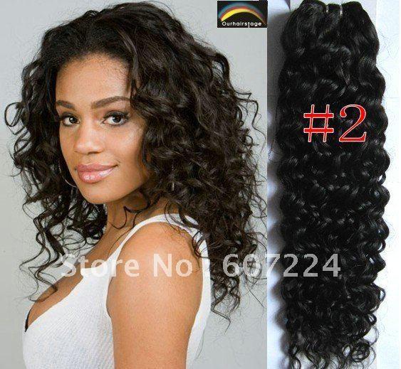 "DHL/EMS/UPS/Fedex Free Shipping 20"" #2 300g CURLY Machine Weft Hair Extension 100% Human Hair"