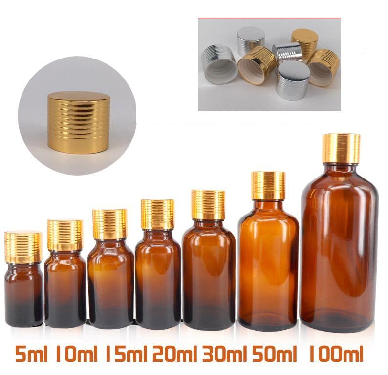 Portable Glass Bottles 15ml Golden cap Cream Perfume Sample Container Bottles Small Brown Glass Refillable bottle(China (Mainland))