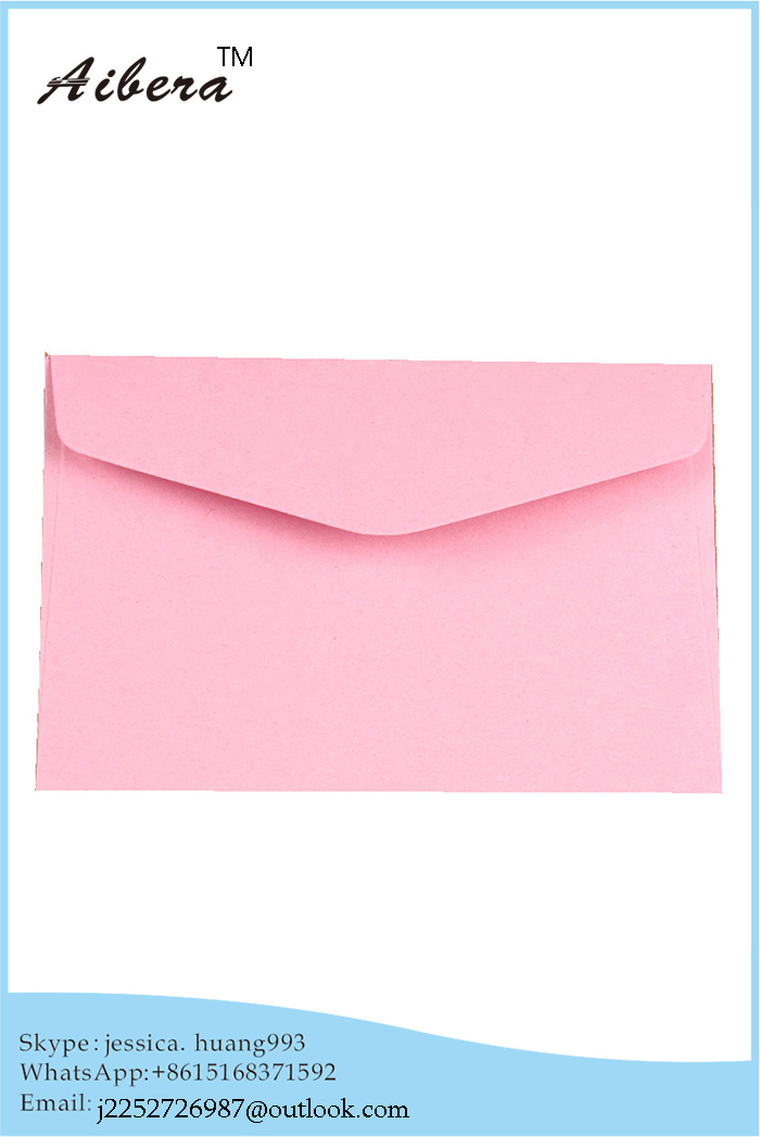 2015 factory hot supply high quality colorful fancy recyclable pink paper gift envelope with factory price(China (Mainland))