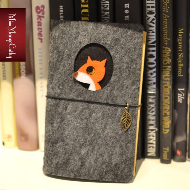 """Little Fox"" Luxury Fabric Cover Cute Diary Blank Kraft Paper Planner Journal Travel School Animal Notebook Scheduler Gift(China (Mainland))"