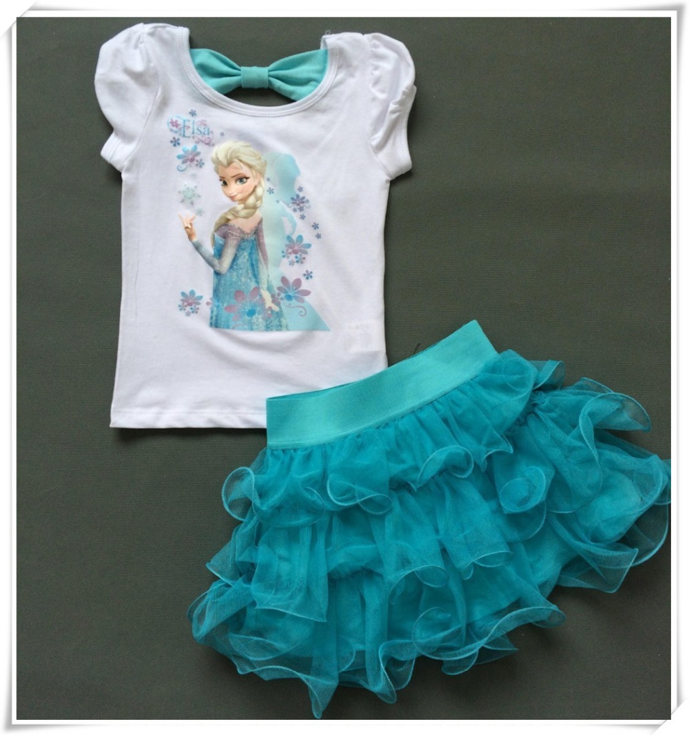 Girls dress Princess Elsa Dress T shirt 2 Pcs Set 4 8 Age Sky Blue Layered