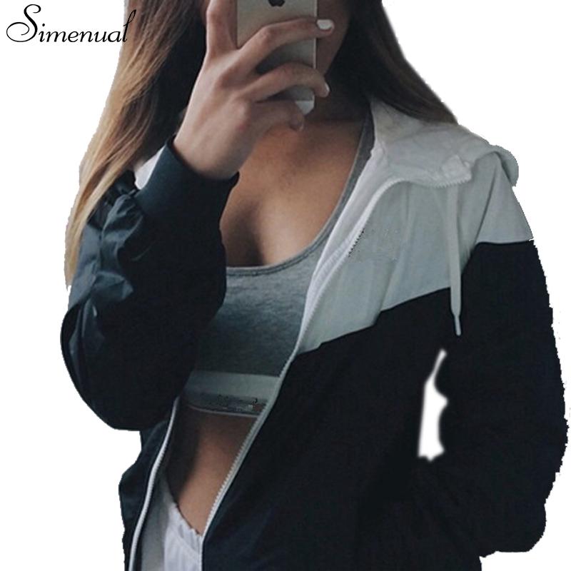 Sporty style 2016 autumn baseball jacket hot sale hooded patchwork women jackets coats sportswear fashion new slim coat female(China (Mainland))