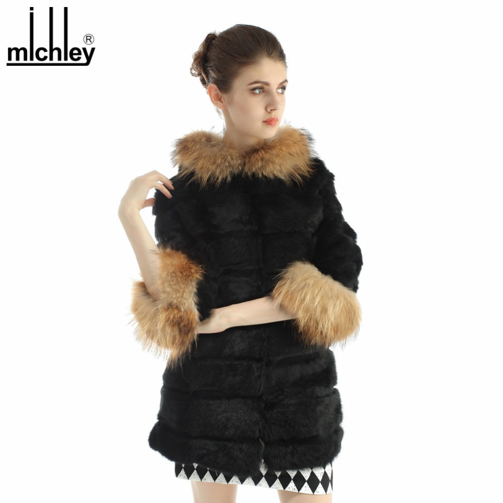 MICHLEY 2015 Women Knitting Rabbit Hooded Jacket Coat Raccoon Dog Fur Winter Outwear QFCR0009(China (Mainland))