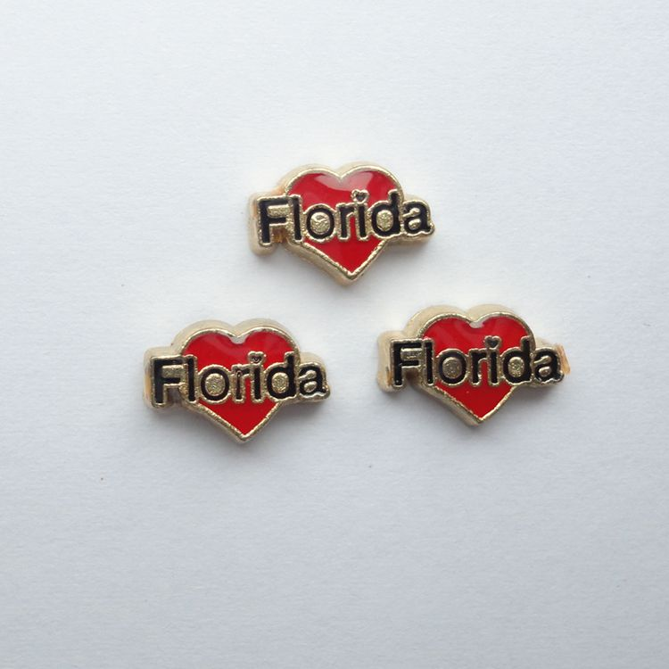 Florida in red heart charms, charms for memory locket , 20 pcs / lot , Free Shipping(China (Mainland))