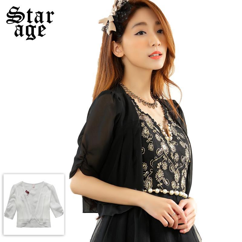 M-XXXL Ladies Ruffles Chiffon Jacket Women Half Sleeve Tops Cute Outerwear 2015 Summer Brand Plus Size Clothing Black/White 9630(China (Mainland))
