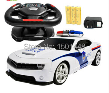 Bumblebee steering wheel induction charge remote control car boy toy remote control automobile race police car(China (Mainland))