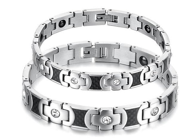 2012 New Jewelry, Black White Between Set Auger, The Lovers Care Titanium Steel Bracelet, N3221