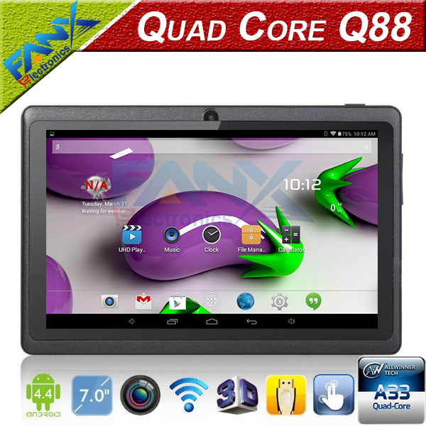 Free Shipping 7 inch A33 Quad Core Q88 Tablet Dual Core WIFI MID Dual Camera Android 4.4 512MB 4GB Surfing Cheapest Popular PAD(China (Mainland))