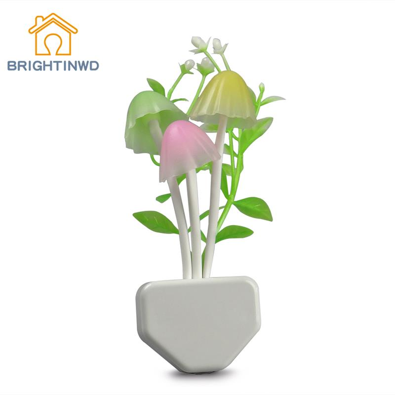 Newly Modern Led Sensor Control Candle Night Light Mushroom Lamp for Your Home Convenient Green Night Wall Lamp with US&EU plug(China (Mainland))