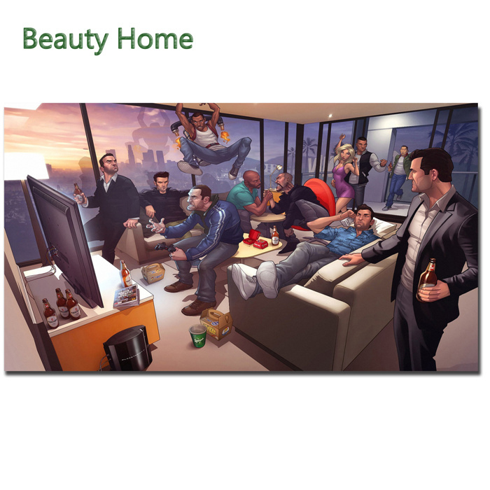 Game Gta 4 Party Canvas Painting Wall Picture For Living Room Cuadros Decoracion Grand Theft Auto 5V Game Canvas Print(China (Mainland))