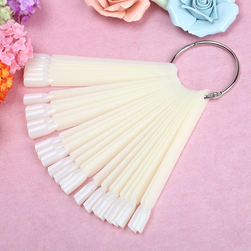 1set /50pcs False Nail Art Board Tip Stick Sticker Polish Foldable Display Beauty Practice Fan Clear White MJ1348-JiaZhiJiaShan(China (Mainland))