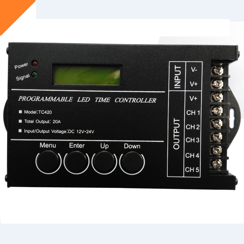 Programmable led time controller by PC Timmer LED controller 5 channel 5*4A DC 12V - 24V model:TC420 free shipping!(China (Mainland))