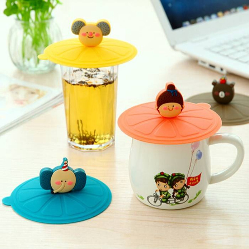 Best Promotion 8 Styles Cute Silicone Leakproof Coffee Mug Suction Lid Cap Airtight Sealed Cup Cover Lids Bottle Caps Closures(China (Mainland))