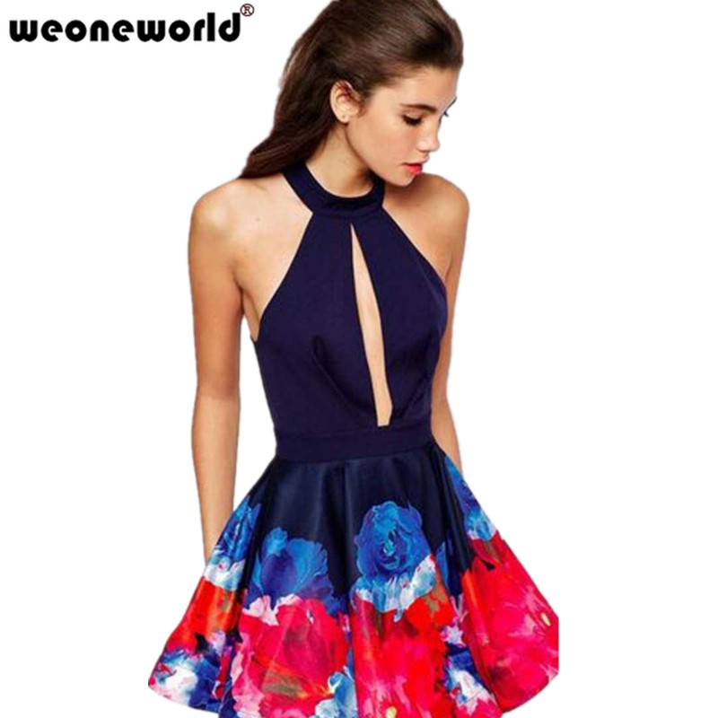 WEONEWORLD Women's Sexy Halter Keyhole Cut Out Pleated Club Dress Ladies Vestido Skater Little Floral Print Dresses(China (Mainland))