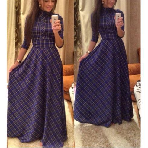 summer slim dresses vintage women's plaid dress 2015 new fashion casual elegant evening party club long maxi dress plus size(China (Mainland))