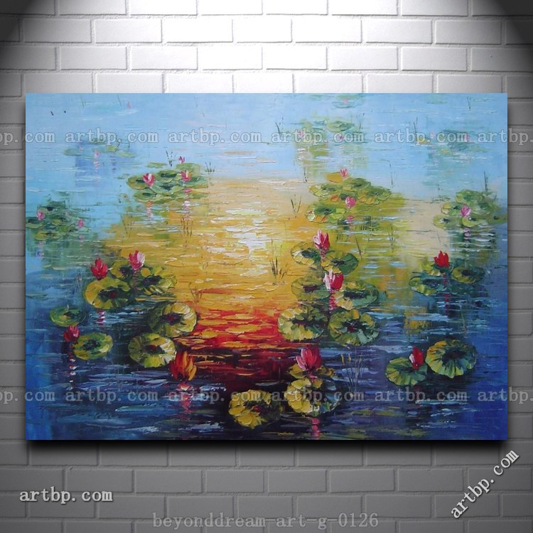 Red Lotus Pond In Sunrise Oil Painting Impressionism Flower Home Decoration Items Wall Stickers Home Decor Free Shipping(China (Mainland))