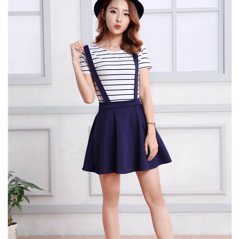 2016 suspender skirts ruffles skater pleated