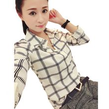 New Women's Chiffon Tops Long Sleeves Printed Check Shirts Plaid Shirts Plus Size