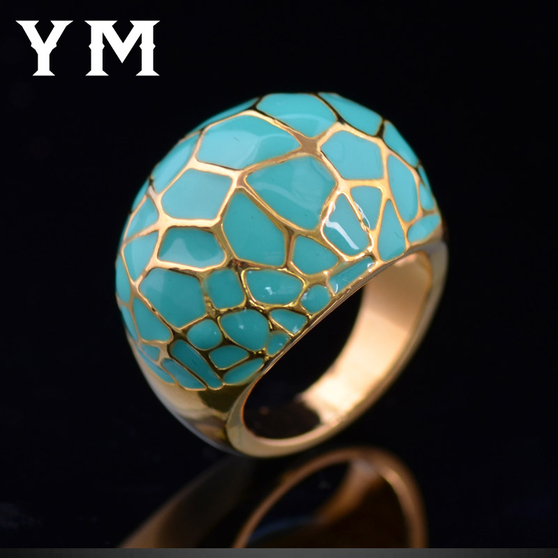 Top Quality Green Lucite Rings For Women Cute Opal Bague Party Girl Engagement Rings Valentine Jewelry Fashion Gold Plated Anel(China (Mainland))