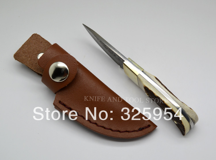 Hand made Damascus Steel Blade And Deer Horn Handle Fixed Knife Elk Ridge Small Damascus Knife