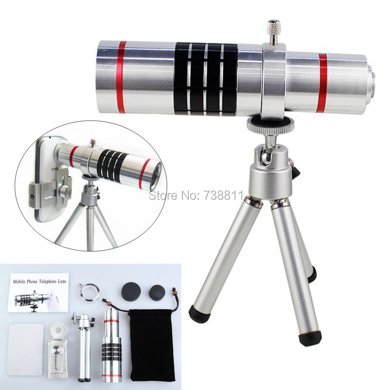 FREE SHIP/Hot Silver 18X Optical Telephoto Zoom Tripod Camera SmartPhone Lens For Samsung S6Eage/S6/S5/S4/S3/NOTE4/3/S4MINI/A7