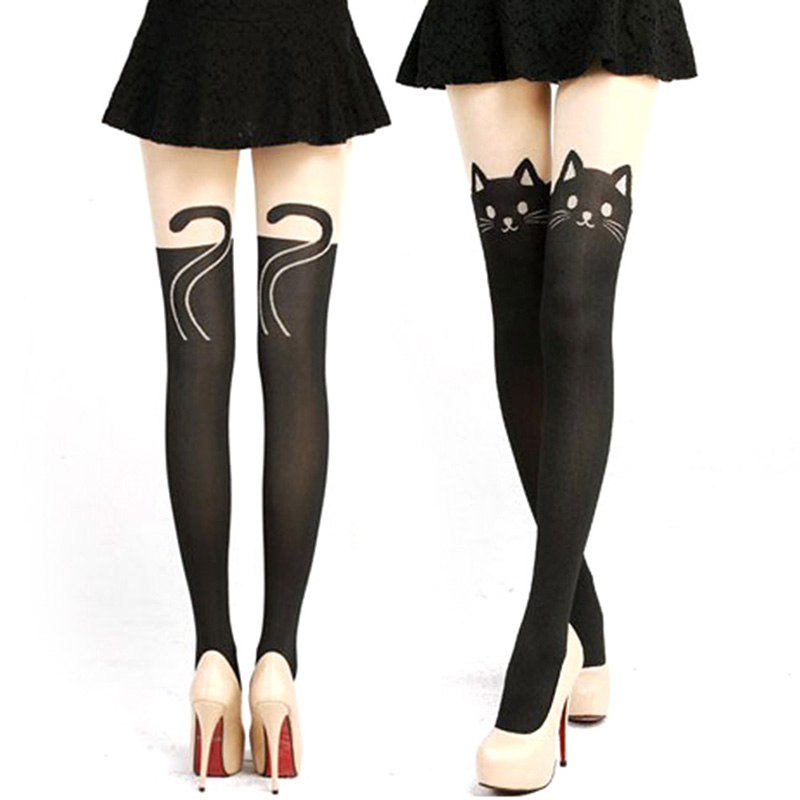 Hot Women High Socks Lady Sexy Cat Tail Velvet Knee High Socks Hosiery Tattoo Stockings Hot Sales(China (Mainland))