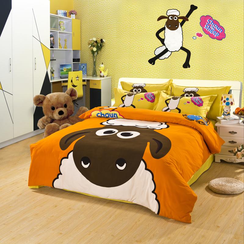 cute kids bedding set king queen twin size bed sheet children cartoon sheep quilt duvet cover. Black Bedroom Furniture Sets. Home Design Ideas