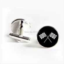 2016 Free Shipping Racing Chequered Flag Cufflinks Flags Cuff link Silver Shirt Cufflinks For Mens