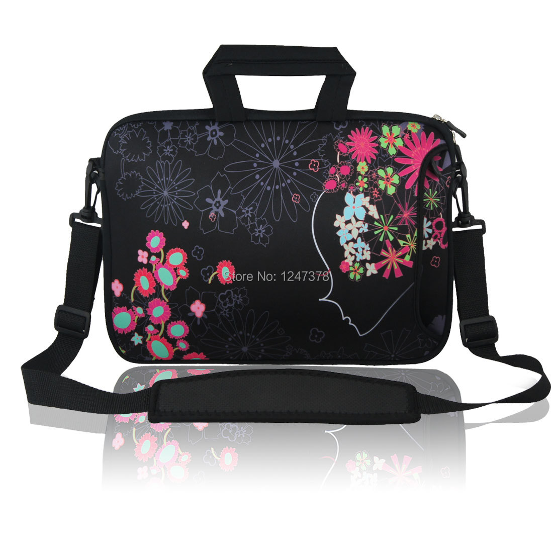 "17"" 17.3"" 17.4"" Floral Laptop Shoulder Bag Sleeve Case + Handle Discount 50 43.5cm x 34cm x 32cm (L*W*H)(China (Mainland))"