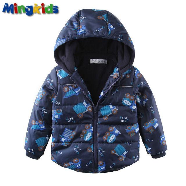 Mingkids Мальчик куртка весна осень теплая евро зима Машинки мультяшная верхняя одежда дети непродуваемая и водонепроницаемая дышащая полностью флис подкладка и отражающие материалы