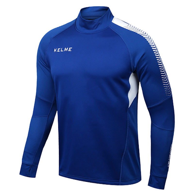 Kelme K089 Men Long Sleeve Thumb Buckle Training Light Board Team Sportswear Football Jersey Blue(China (Mainland))