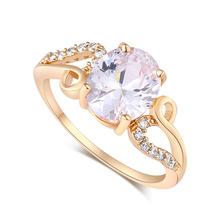 Romantic 18K Gold Plated Big White Austrian Crystal Ring For Women Charm Elegant Wedding/Engagement Rings(China (Mainland))