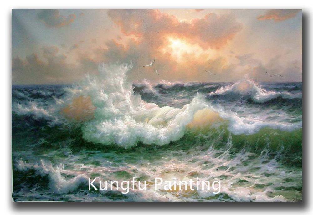 Sea406 handmade good quality ocean waves oil painting for Oil art for sale