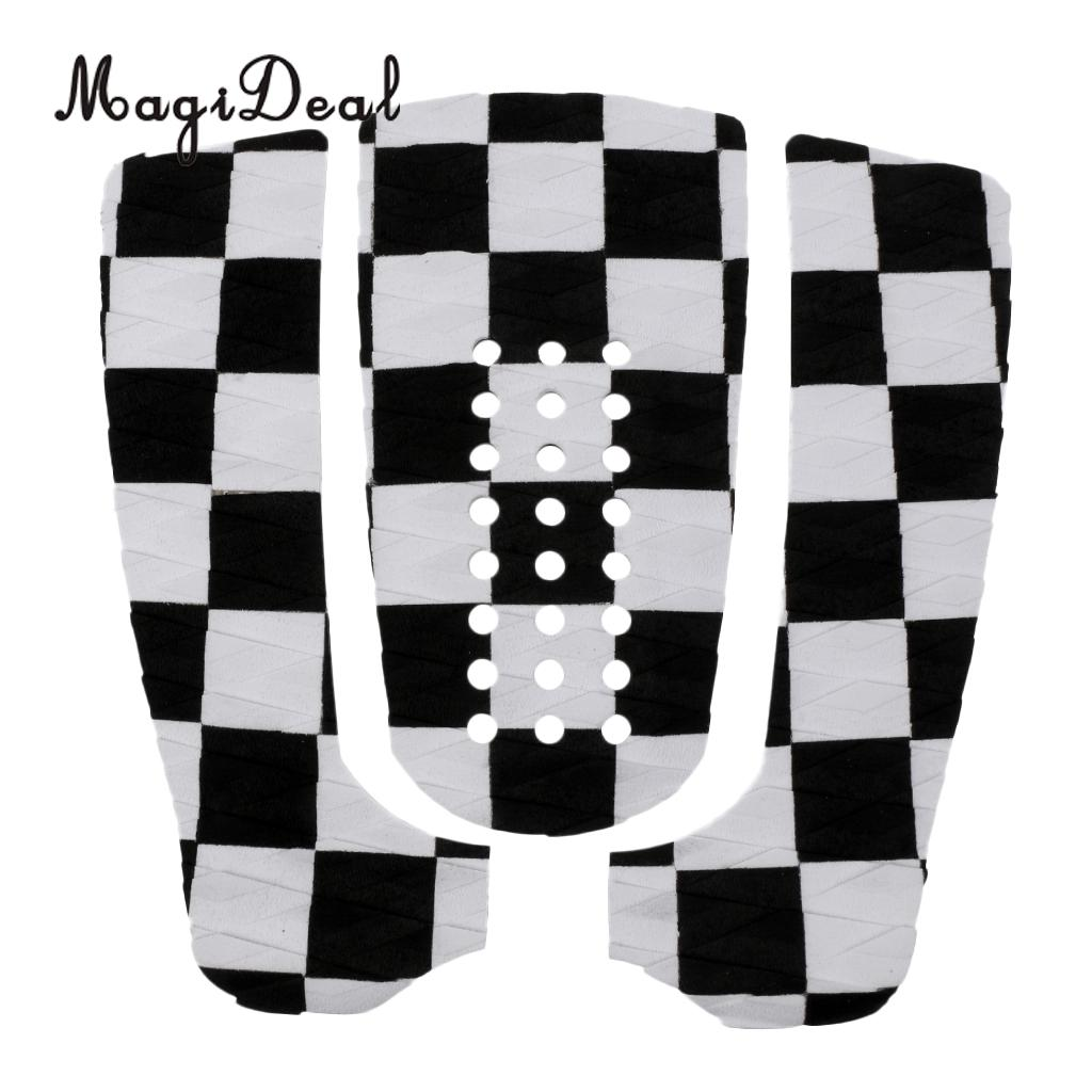MagiDeal Hot Sale 3Pcs Surfboard Traction Tail Pads Surfing Surf Deck Grips Anti-Slip Grid Longboard Deck Pad Water Sports Acce