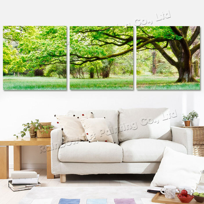 3 panel modern printed tree landscape oil painting picture for Home decor 90 off